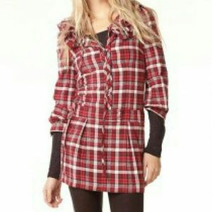 Juicy Couture Red Plaid Lace Skirt